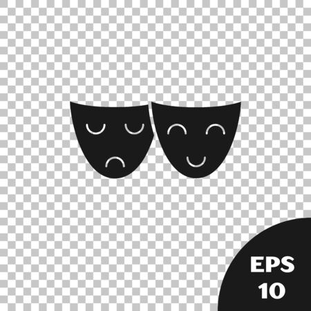 Black Comedy and tragedy theatrical masks icon isolated on transparent background. Vector Illustration Иллюстрация