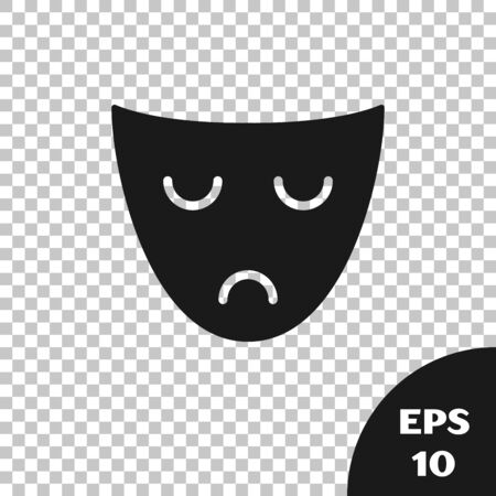 Black Drama theatrical mask icon isolated on transparent background. Vector Illustration