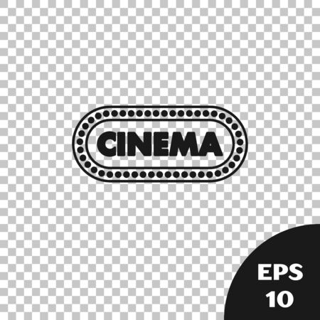 Black Cinema poster design template icon isolated on transparent background. Movie time concept banner design. Vector Illustration