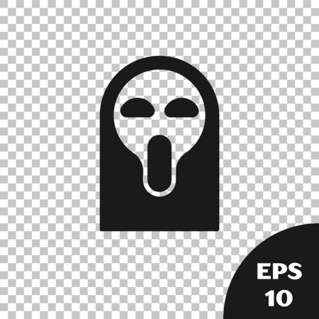 Black Funny and scary ghost mask for Halloween icon isolated on transparent background. Happy Halloween party. Vector Illustration