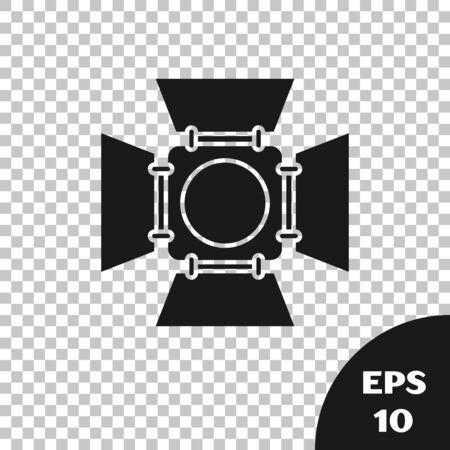 Black Movie spotlight icon isolated on transparent background. Light Effect. Scene, Studio, Show. Vector Illustration  イラスト・ベクター素材