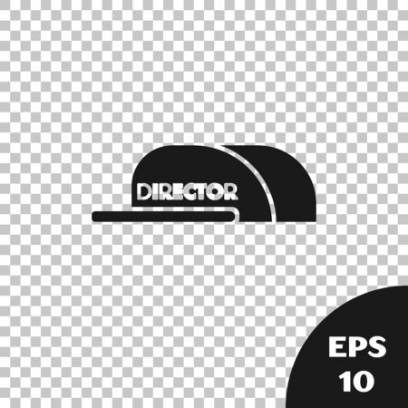 Black Cap with inscription director icon isolated on transparent background. Vector Illustration Illustration