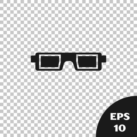 Black 3D cinema glasses icon isolated on transparent background. Vector Illustration Illustration