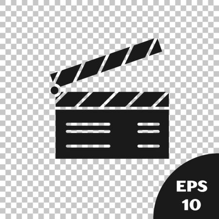 Black Movie clapper icon isolated on transparent background. Film clapper board. Clapperboard sign. Cinema production or media industry concept. Vector Illustration