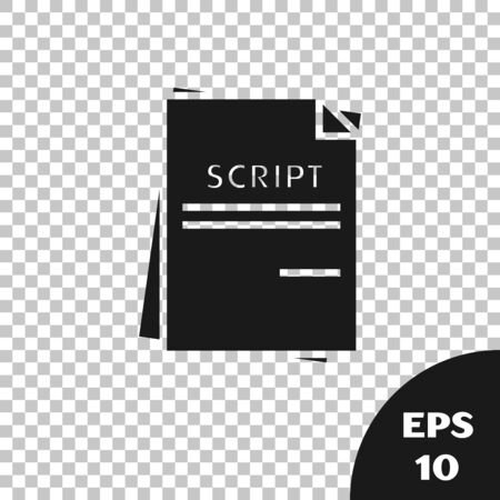 Black Scenario icon isolated on transparent background. Script reading concept for art project, films, theaters. Vector Illustration