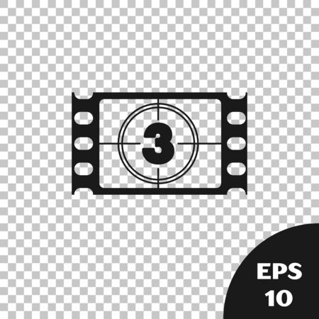 Black Play Video icon isolated on transparent background. Film strip with start sign. Vector Illustration