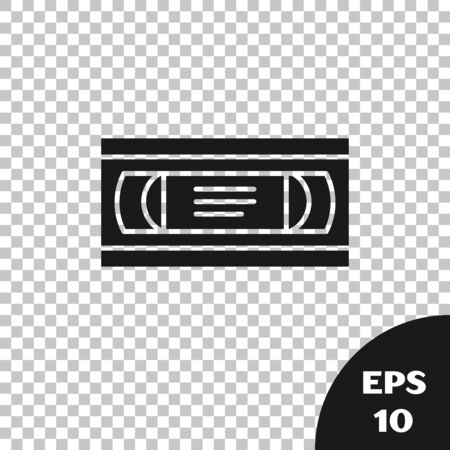 Black VHS video cassette tape icon isolated on transparent background. Vector Illustration