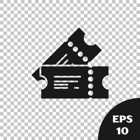 Black Cinema ticket icon isolated on transparent background. Vector Illustration