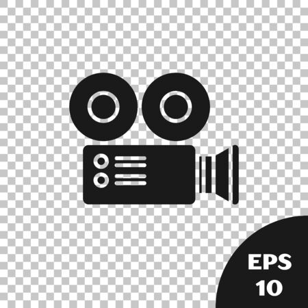 Black Cinema camera icon isolated on transparent background. Video camera. Movie sign. Film projector. Vector Illustration