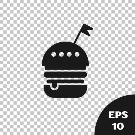 Black Burger icon isolated on transparent background. Hamburger icon. Cheeseburger sandwich sign. Fast food menu. Vector Illustration