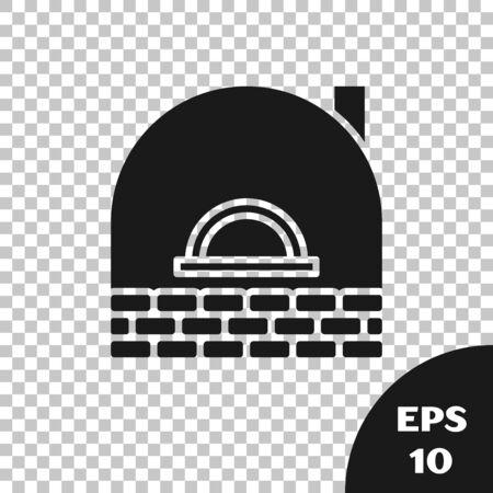 Black Brick stove icon isolated on transparent background. Brick fireplace, masonry stove, stone oven icon. Vector Illustration