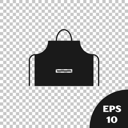 Black Kitchen apron icon isolated on transparent background. Chef uniform for cooking. Vector Illustration