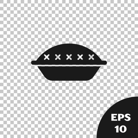Black Homemade pie icon isolated on transparent background. Vector Illustration Stock Illustratie