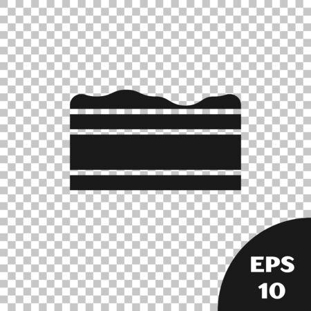 Black Brownie chocolate cake icon isolated on transparent background. Vector Illustration Ilustração