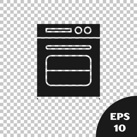Black Oven icon isolated on transparent background. Stove gas oven sign. Vector Illustration