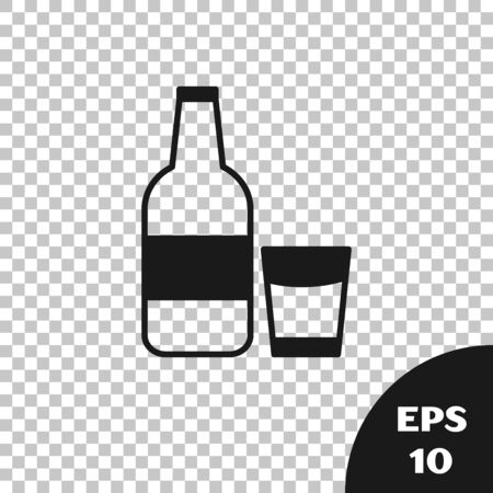 Black Closed glass bottle with milk and glass icon isolated on transparent background. Vector Illustration