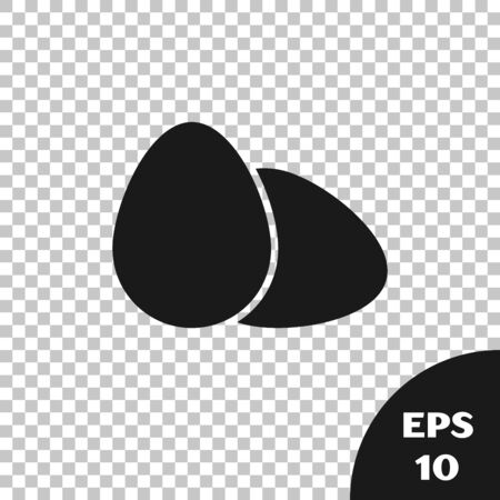 Black Chicken egg icon isolated on transparent background. Vector Illustration