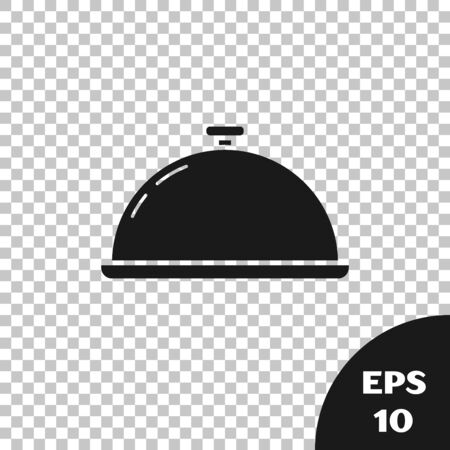 Black Covered with a tray of food icon isolated on transparent background. Tray and lid sign. Restaurant cloche with lid. Kitchenware symbol. Vector Illustration Stockfoto - 131328930