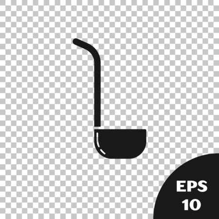 Black Kitchen ladle icon isolated on transparent background. Cooking utensil. Cutlery spoon sign. Vector Illustration