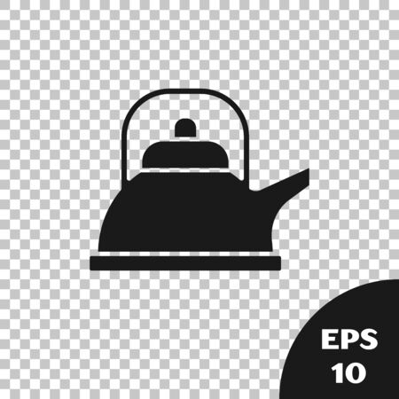 Black Kettle with handle icon isolated on transparent background. Teapot icon. Vector Illustration