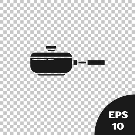 Black Frying pan icon isolated on transparent background. Fry or roast food symbol. Vector Illustration