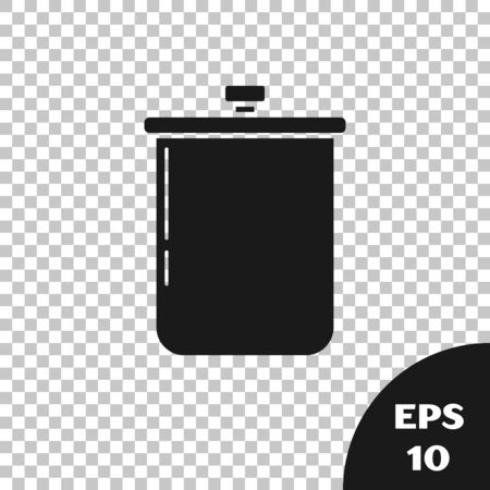 Black Cooking pot icon isolated on transparent background. Boil or stew food symbol. Vector Illustration Illustration
