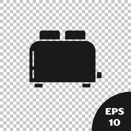 Black Toaster with toasts icon isolated on transparent background. Vector Illustration