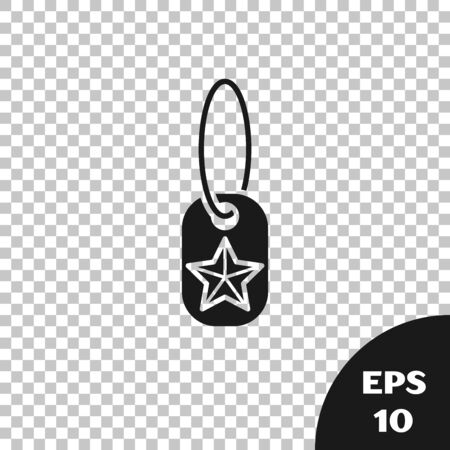 Black Military dog tag icon isolated on transparent background. Identity tag icon. Army sign. Vector Illustration