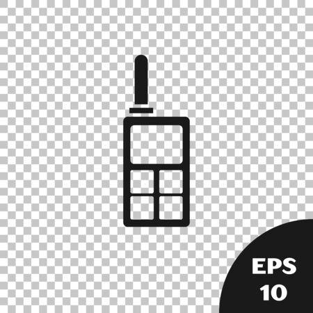 Black Walkie talkie icon isolated on transparent background. Portable radio transmitter icon. Radio transceiver sign. Vector Illustration