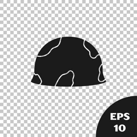 Black Military helmet icon isolated on transparent background. Army hat symbol of defense and protect. Protective hat. Vector Illustration
