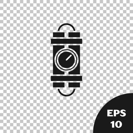 Black Detonate dynamite bomb stick and timer clock icon isolated on transparent background. Time bomb - explosion danger concept. Vector Illustration Illusztráció