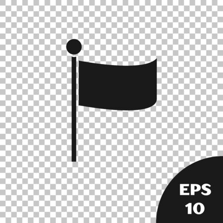 Black Flag icon isolated on transparent background. Location marker symbol. Vector Illustration