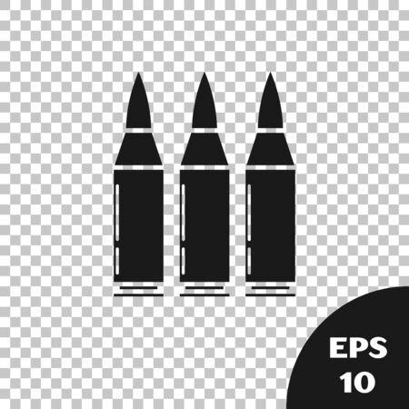 Black Bullet icon isolated on transparent background. Vector Illustration Illusztráció