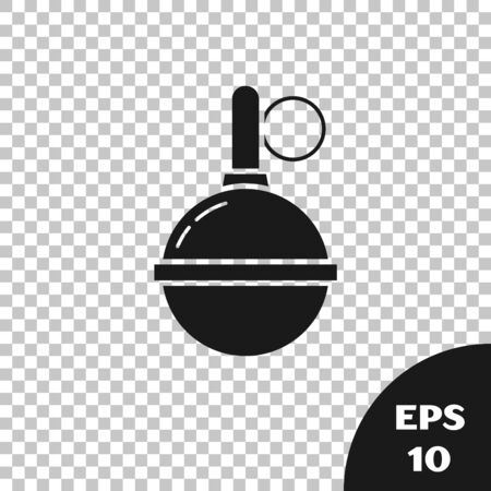Black Hand grenade icon isolated on transparent background. Bomb explosion. Vector Illustration
