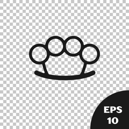 Black Brass knuckles icon isolated on transparent background. Vector Illustration Çizim