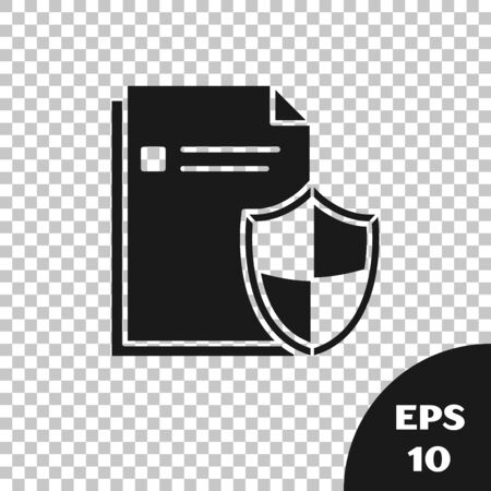 Black Document protection concept icon isolated on transparent background. Confidential information and privacy idea, secure, guard, shield. Vector Illustration Ilustração