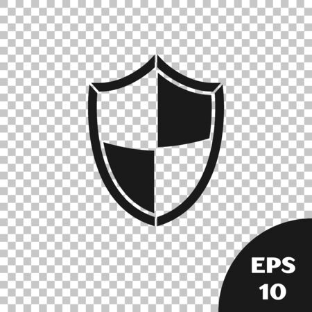 Black Shield icon isolated on transparent background. Guard sign. Security, safety, protection, privacy concept. Vector Illustration