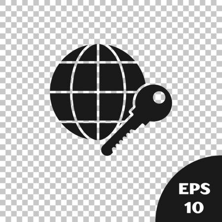 Black Globe key icon isolated on transparent background. Vector Illustration
