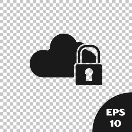 Black Cloud computing lock icon isolated on transparent background. Security, safety, protection concept. Protection of personal data. Vector Illustration