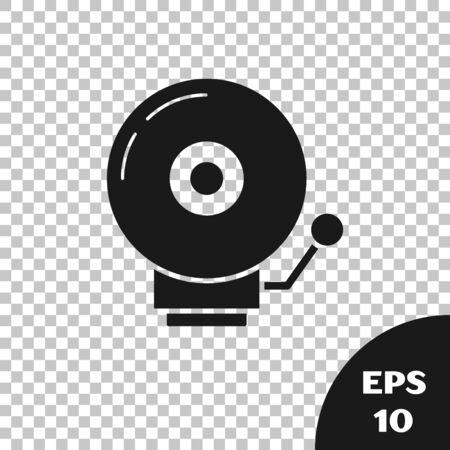 Black Ringing alarm bell icon isolated on transparent background. Alarm symbol, service bell, handbell sign, notification symbol. Vector Illustration