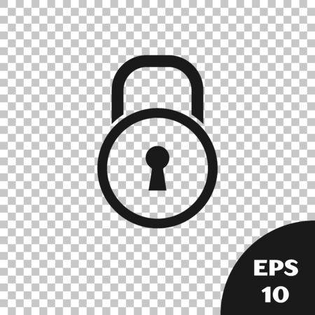 Black Lock icon isolated on transparent background. Padlock sign. Security, safety, protection, privacy concept. Vector Illustration