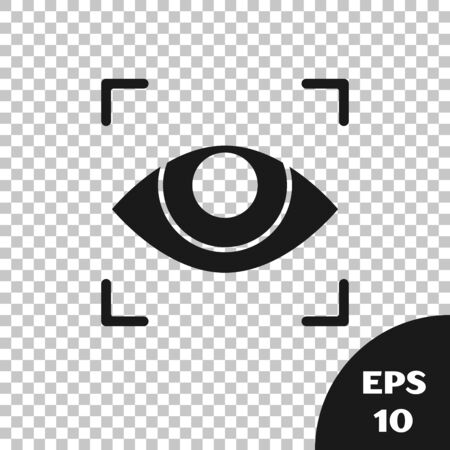 Black Eye scan icon isolated on transparent background. Scanning eye. Security check symbol. Cyber eye sign. Vector Illustration
