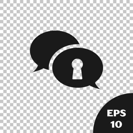Black Protection of personal data icon isolated on transparent background. Speech bubble and key. Vector Illustration Stock Illustratie