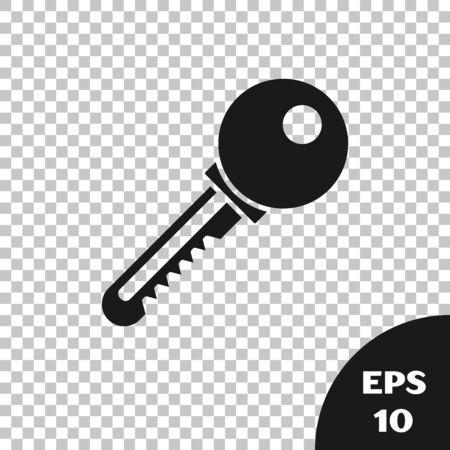 Black Key icon isolated on transparent background. Vector Illustration