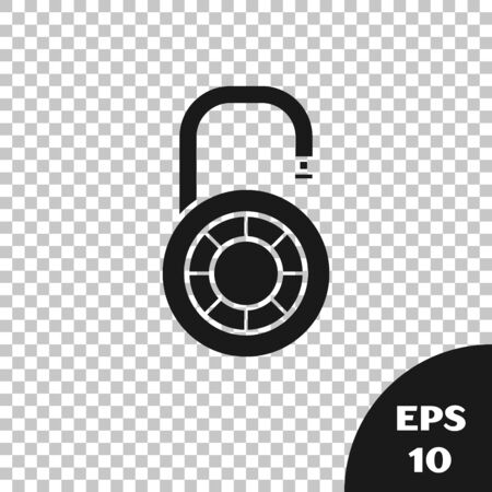 Black Safe combination lock wheel icon isolated on transparent background. Combination padlock. Security, safety, protection, password, privacy. Vector Illustration Ilustração