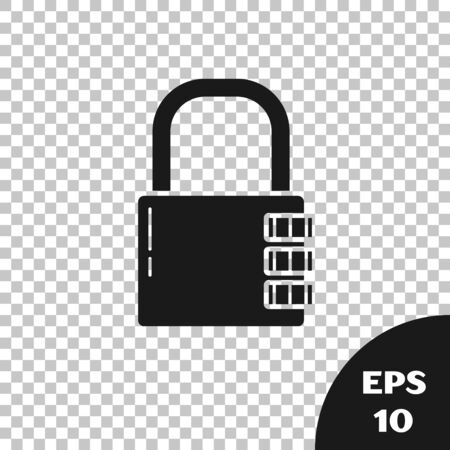 Black Safe combination lock icon isolated on transparent background. Combination padlock. Security, safety, protection, password, privacy. Vector Illustration