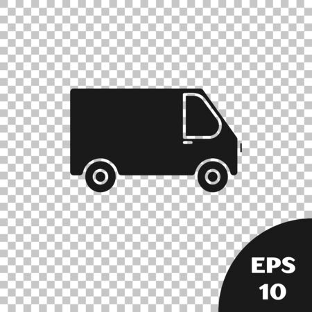 Black Delivery cargo truck vehicle icon isolated on transparent background. Vector Illustration
