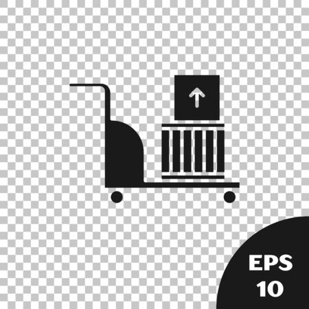 Black Electric hand truck and boxes icon isolated on transparent background. Dolly symbol. Vector Illustration