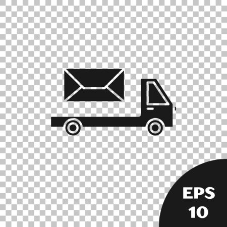 Black Post truck icon isolated on transparent background. Mail car. Vehicle truck transport with envelope or letter. Vector Illustration