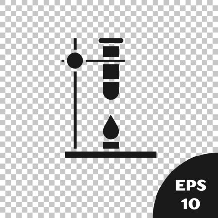 Black Glass test tube flask on fire heater experiment icon isolated on transparent background. Laboratory equipment. Vector Illustration 일러스트